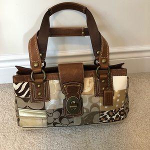 Coach unique patchwork handbag with leather handle